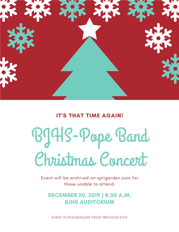 BJHS-Pope band Christmas concert to be held Dec. 20