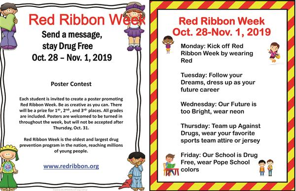 Pope School announces Red Ribbon Week activities