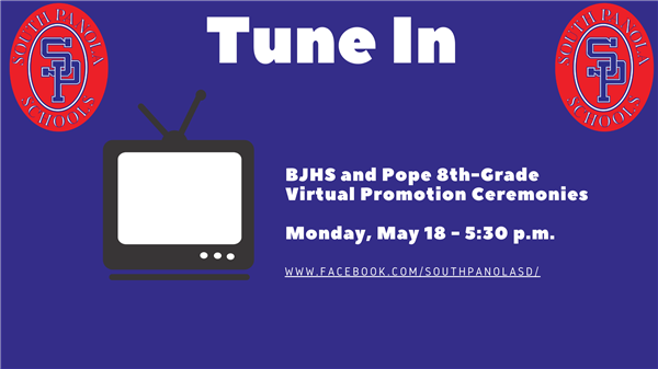 BJHS and Pope Eighth-Grade Virtual Promotion ceremonies to be aired May 18 at 5:30