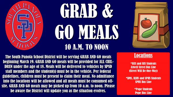 SPSD to offer Grab & Go Meals beginning March 19