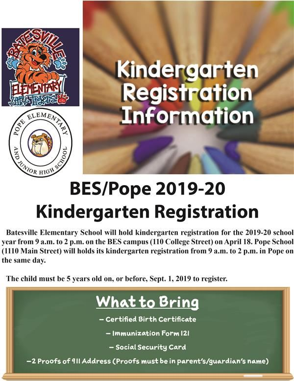 Reminder: Pope-BES kindergarten registration set for April 18