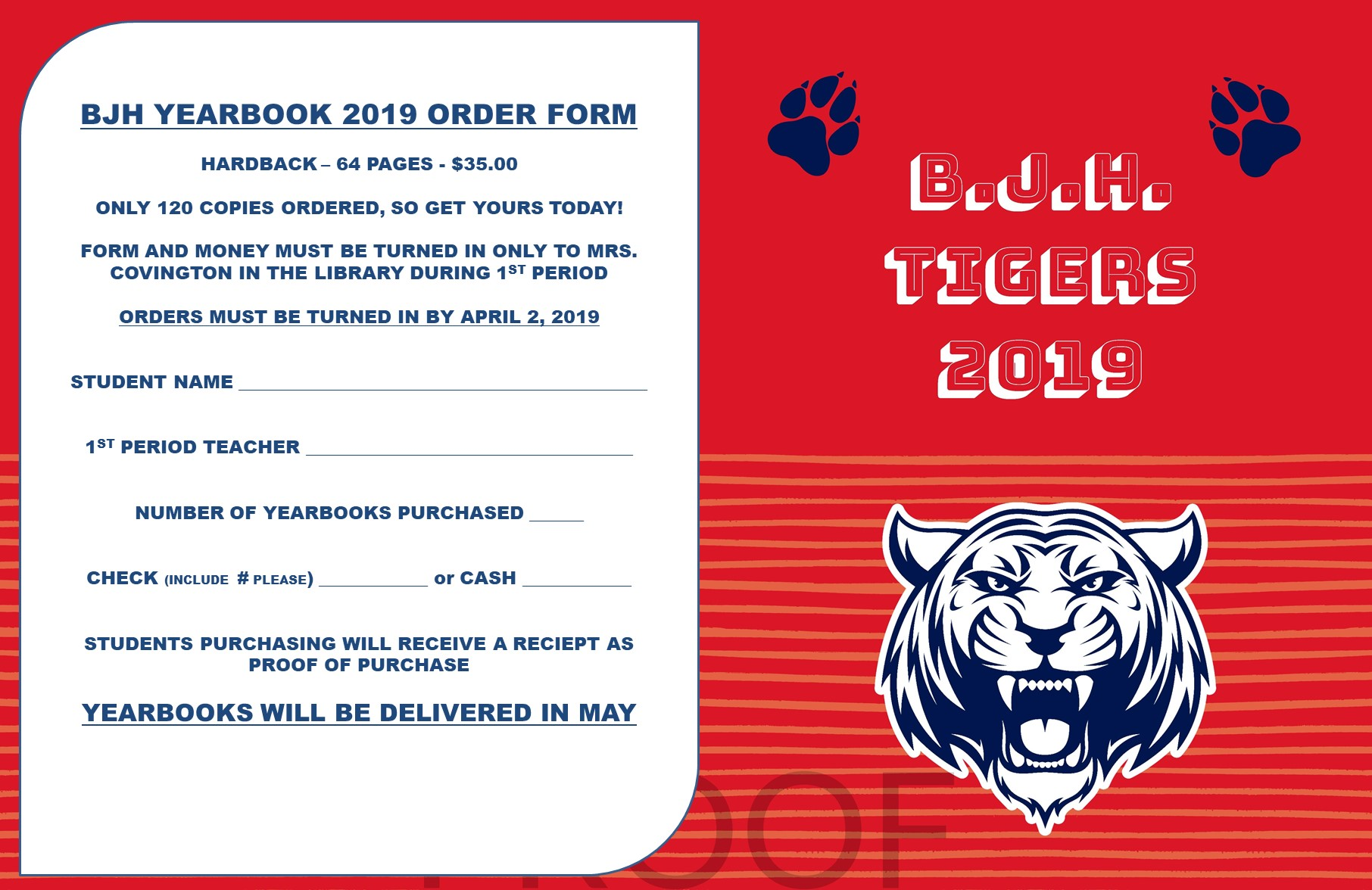 BJHS yearbooks on sale now through April 2