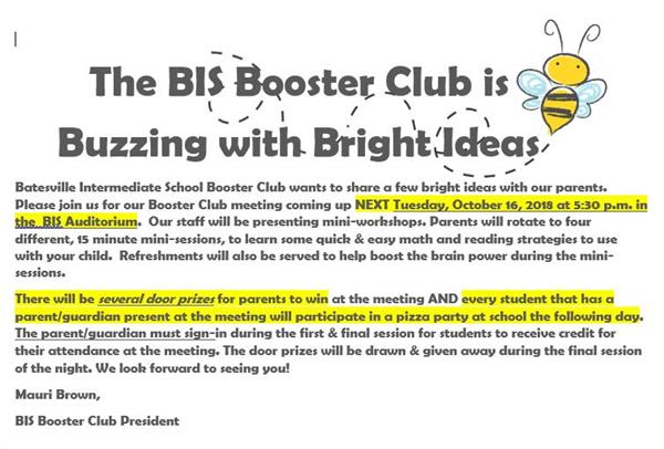 BIS Booster Club to hold meeting Oct. 16