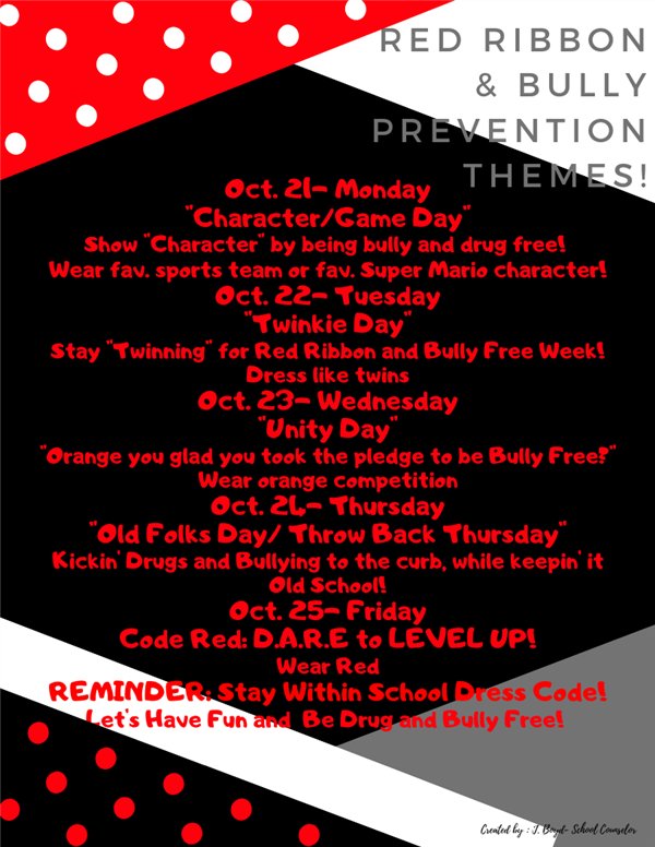 BJHS Red Ribbon/Bully Prevention Themes