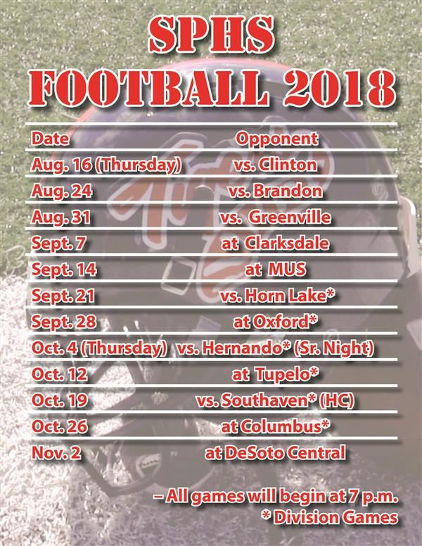 SPHS football 2018 schedule; scrimmage planned for Aug. 10
