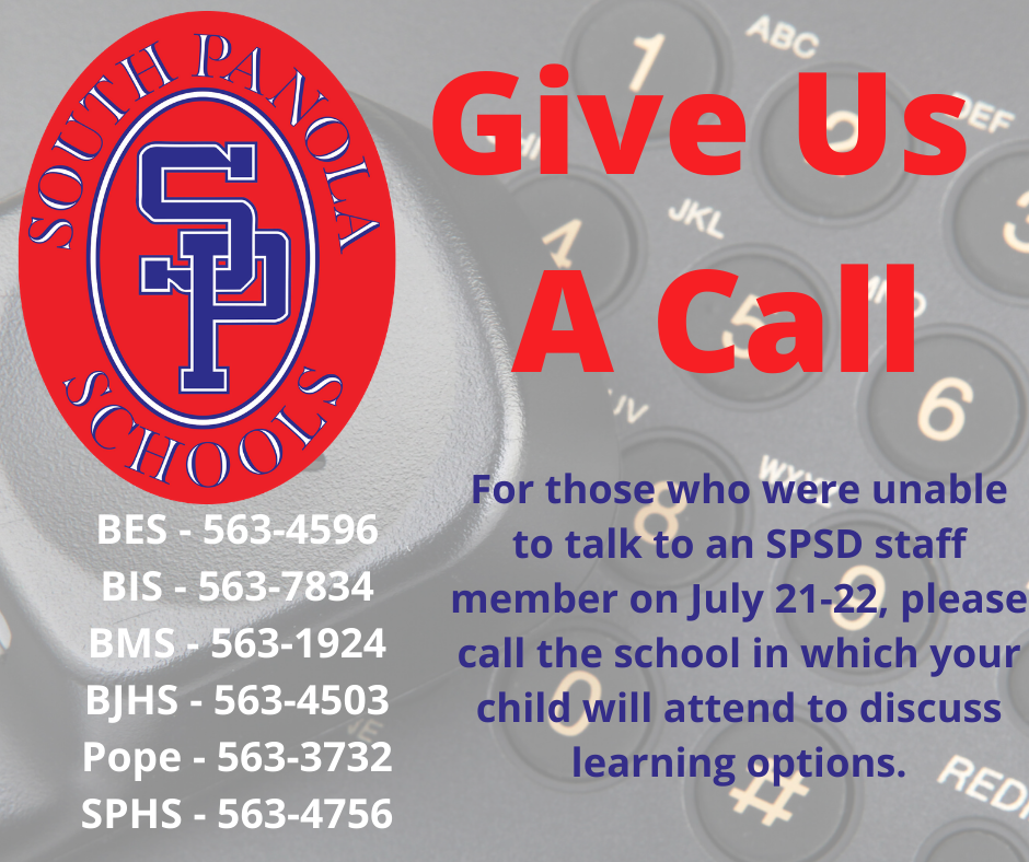 SPSD wishes to speak to all parents/guardians to discuss learning options