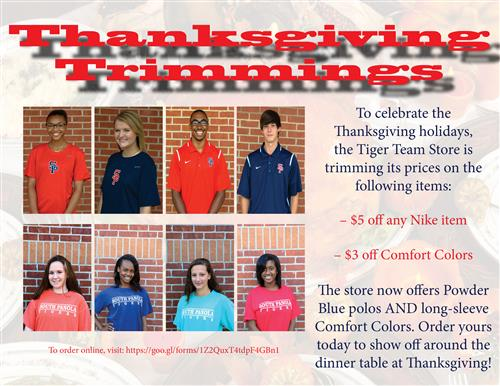 'Thanksgiving Trimmings' offered through Tiger Team Store