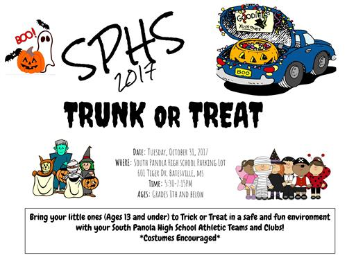 SPHS athletic teams, clubs to host Trunk or Treat