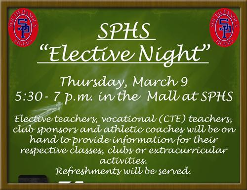 'Elective Night' at SPHS set for March 9