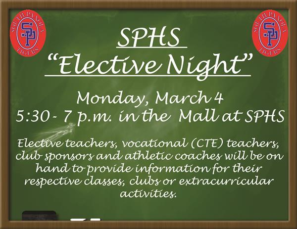 SPHS to host 'Elective Night' on March 4