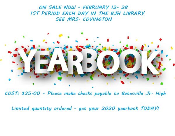 BJHS yearbooks on sale now